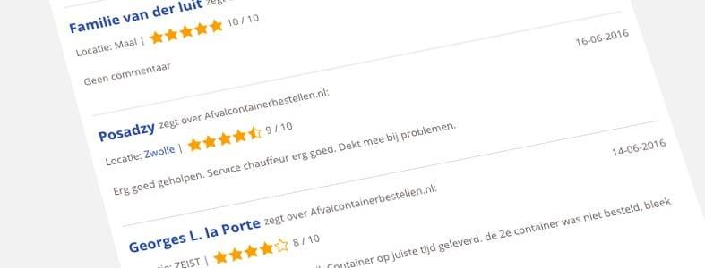Tevreden klanten bij Afvalcontainerbestellen.nl